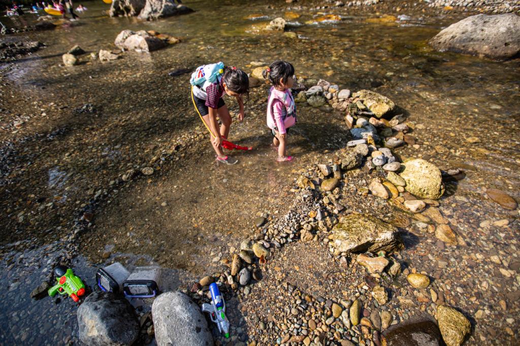 秋保で川遊び!手作りプール