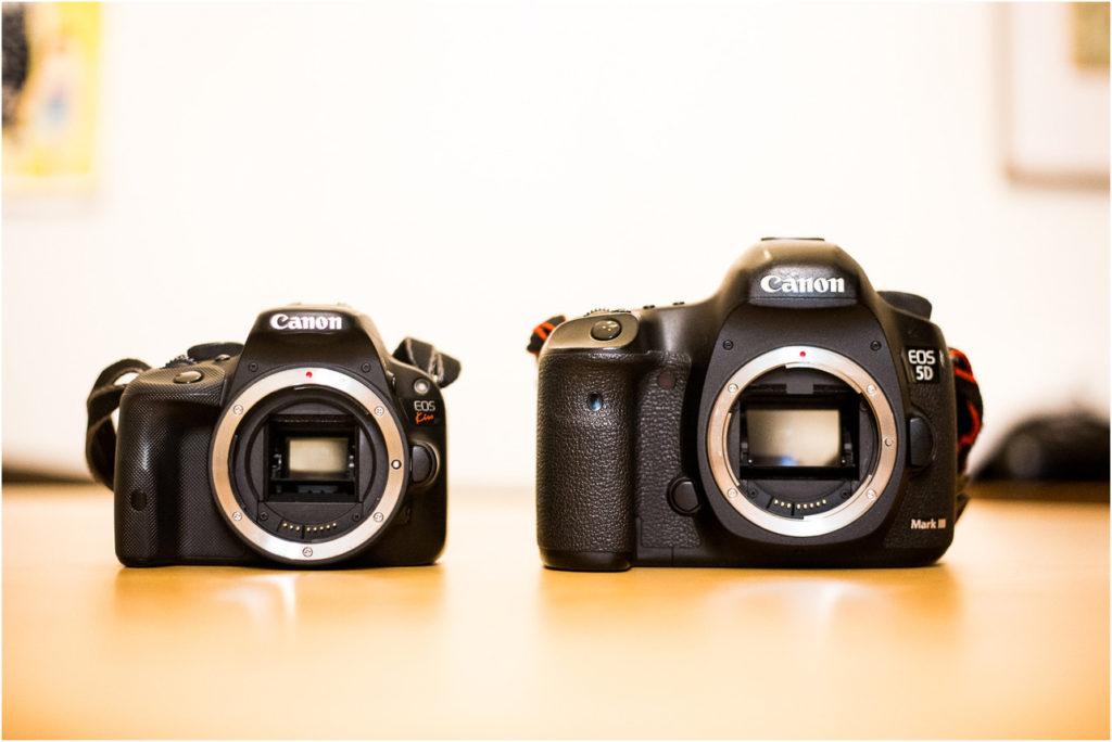 同じキャノンのカメラですがセンサーの大きさが違うんです。
